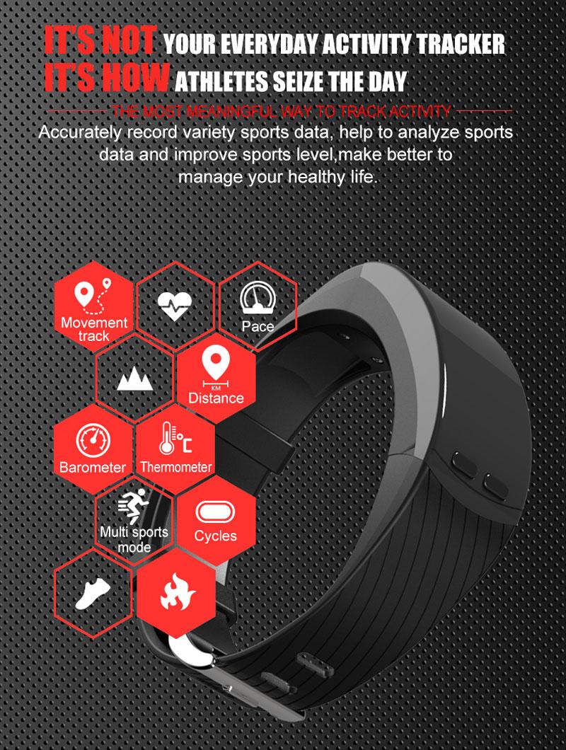 New P5 Smart Bracelet GPS Outdoor Sport Smartband Heart Rate Monitor  Altitude Temperature Measure Pedometer Sports Smart band