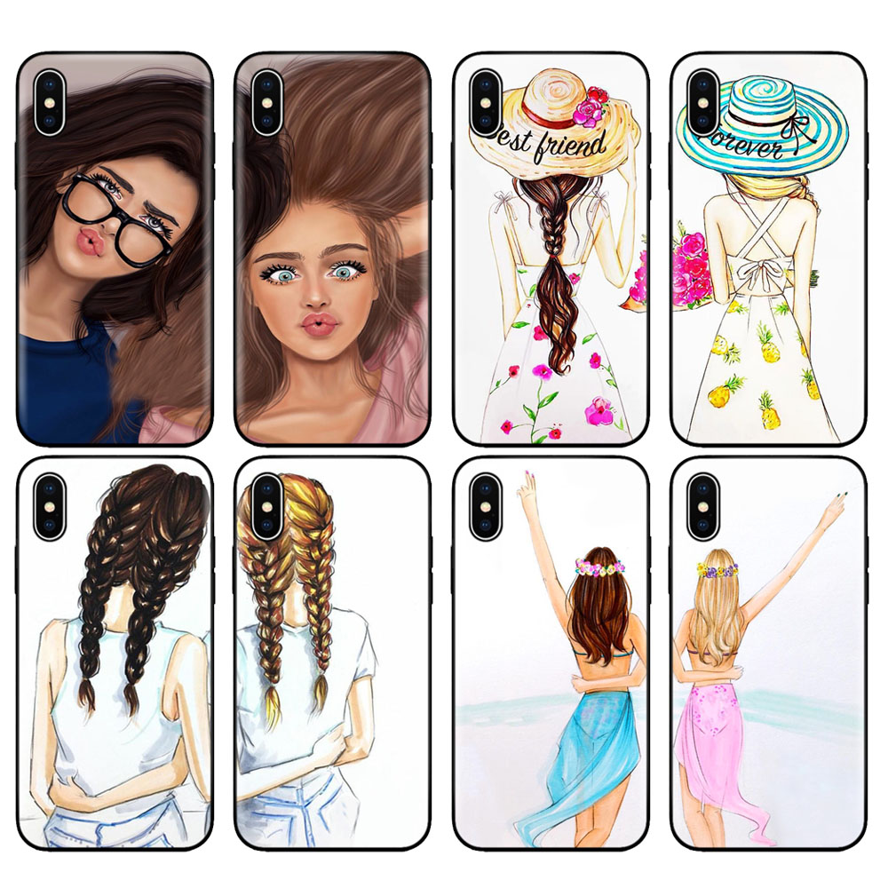 Black tpu case for iphone 5 5s SE 2020 6 6s 7 8 plus x 10 XR XS 11 pro MAX case cover Girls Brunette Blonde Best Friends <font><b>BFF</b></font> image