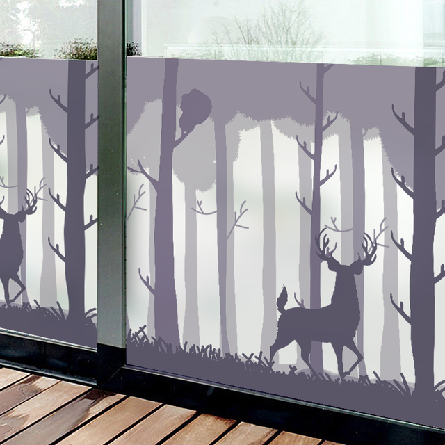 Forest Self Adhesive Film Window Frosted Gl Sliding Door Bathroom Wall Stickers Translucent