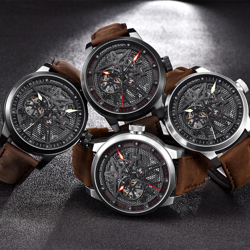 Moda luksusowa marka Pagani skórzane Tourbillon zegarek automatyczny mężczyźni zegarek na rękę mężczyźni mechaniczne zegarki ze stali Relogio Masculino + box w Zegarki mechaniczne od Zegarki na  Grupa 3
