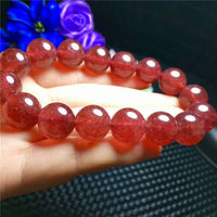 Natural Crystal Beads Bracelet Red Ice Strawberry Quartz 14mm AAAA