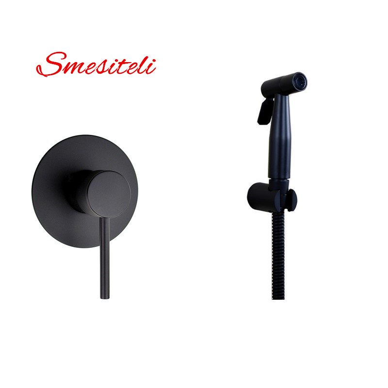 Smesiteli High-Grade Round Style 10YrWarranty Matte Black SUS304 Hot & Cold Handheld Bidet Sprayer With Brass Mixer Valve Holder yuneec q500 typhoon quadcopter handheld cgo steadygrip gimbal black
