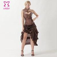 6XL Plus Size Brown Leather Bolero Retro Armor Steampunk Corset Skirt Burlesque Dress Corpetes E Corselet
