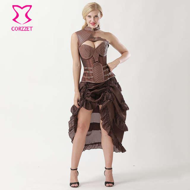 af6de15ce1 Online Shop 6XL Plus Size Brown Leather Bolero Armor Steampunk Corset Dress  Burlesque Satin Corset Corselet Skirt Set Sexy Gothic Clothing