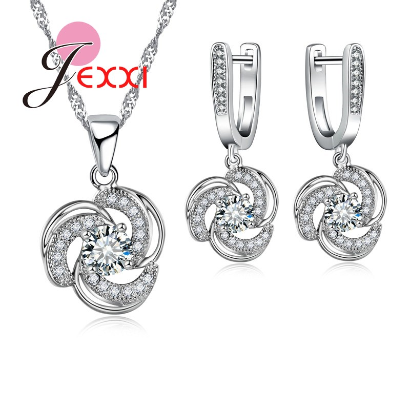 JEXXI Hot Luxury 925 Sterling Silver Pendant Necklace Earrings Jewelry Sets Clear CZ Crystal Rhinestone Women Accessories