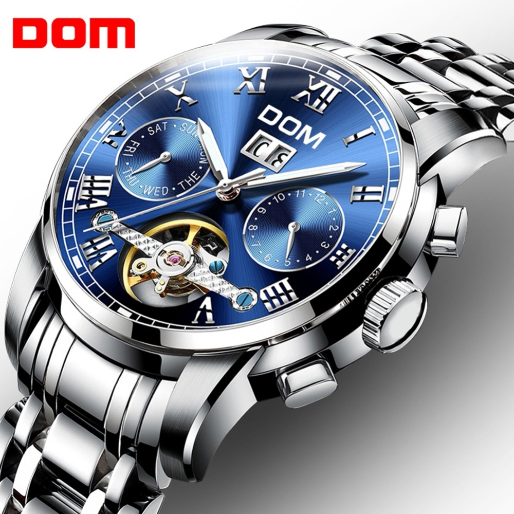 Men Watch Mechanical Watches Sport DOM Brand Waterproof Clock Mens Luxury Fashion Wristwatch Relogio Masculino M-75D-2M mechanical watches sport dom watch men waterproof clock mens brand luxury fashion wristwatch relogio masculino m 75l 2m