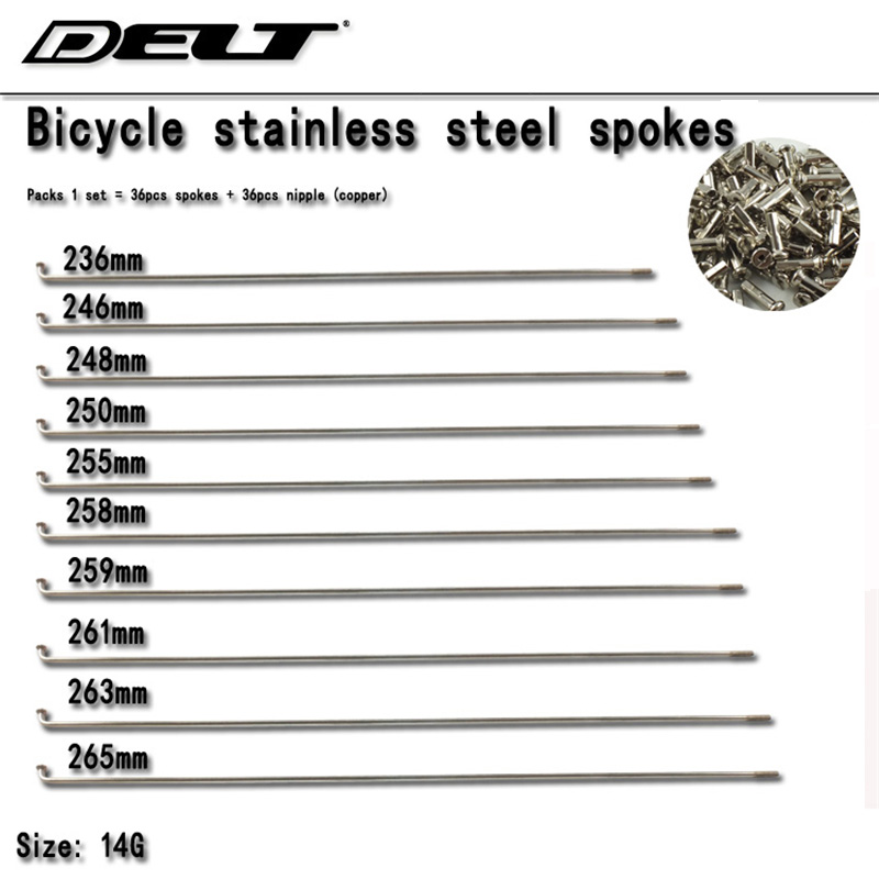 Sykkel taler og brystvorten Rustfritt stål BMX Road Mountain Bike syklus for 236/246/248/250/255/258/259/261/263 / 265mm engros