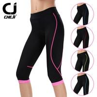 CHEJI Black Girls Bike 3D GEL Padded Shorts Women Cycling Clothing Lycra Shorts Bicycle MTB Bottom