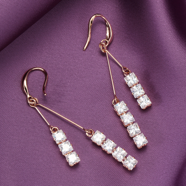 de8f9ac8893b Rose Gold Pendientes Round Zirconia Crystal Long Dangle Drop Earrings for  Women Shiny Bridal Wedding Statement Ear Jewelry