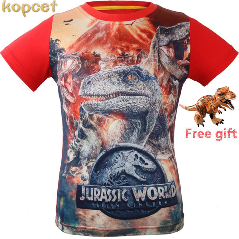 3-8 Years Old Jurassic World dinosaur Children Kids Shorts Tops Tees T Shirt Fille Summer Ninja Boys Dragon T-Shirt For boy stylish boy s head portrait print t shirt letter pattern knee length shorts twinset