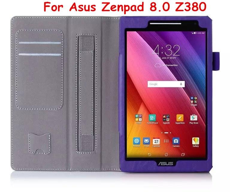 Flip Cover For Asus Zenpad 8.0 Z380 Z380KL Z380C Tablet Case Wallet PU Leather Case with Hand Holder & Card Slot