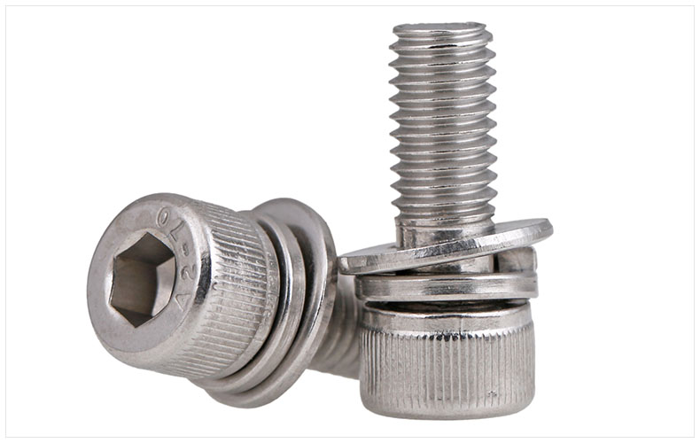 DIN912 304 stainless steel screw hex socket screws cup head cylindrical head three combination M2.5 M3 M4 M5 M6 M8 screw washer 20pcs m4 m5 m6 din912 304 stainless steel hexagon socket head cap screws hex socket bicycle bolts hw003