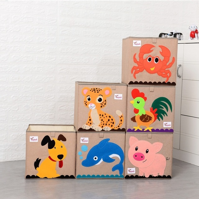 Cube 3D cartoon animal pattern storage basket kid Toys organization Embroidery can be washed cotton linen storage box 33*33*33cm