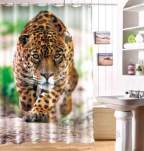 King of the Forest Tiger 3D Photo Digital Printing Bath Waterproof Fabric Shower Curtains(China)