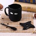 New coffee mug Personality Ninja ceramic cup mug with spoon cute cartoon coffee mug white coffee cup with gift box package