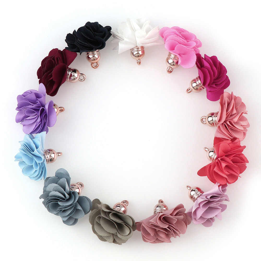 10 ~ 30 Pcs Campuran Jenis Rumbai Temuan Bunga Sutra Poliester Charms Liontin Drop Anting-Anting Rumbai untuk Perhiasan DIY Graft membuat