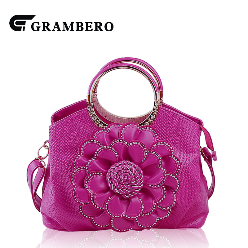 Fashion Women Evening Bag PU Leather Relief Big Flower Handbag Modern Lady Large Capacity Shoulder Crossbody Bags Top-handle Bag women bag set top handle big capacity female tassel handbag fashion shoulder bag purse ladies pu leather crossbody bag