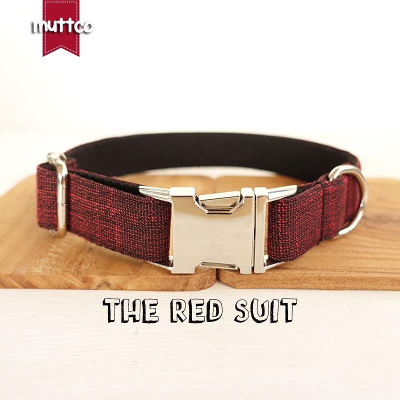 MUTTCO verkoopt knappe handgemaakte halsband THE RED SUIT uniek design halsband 5 maten UDC006
