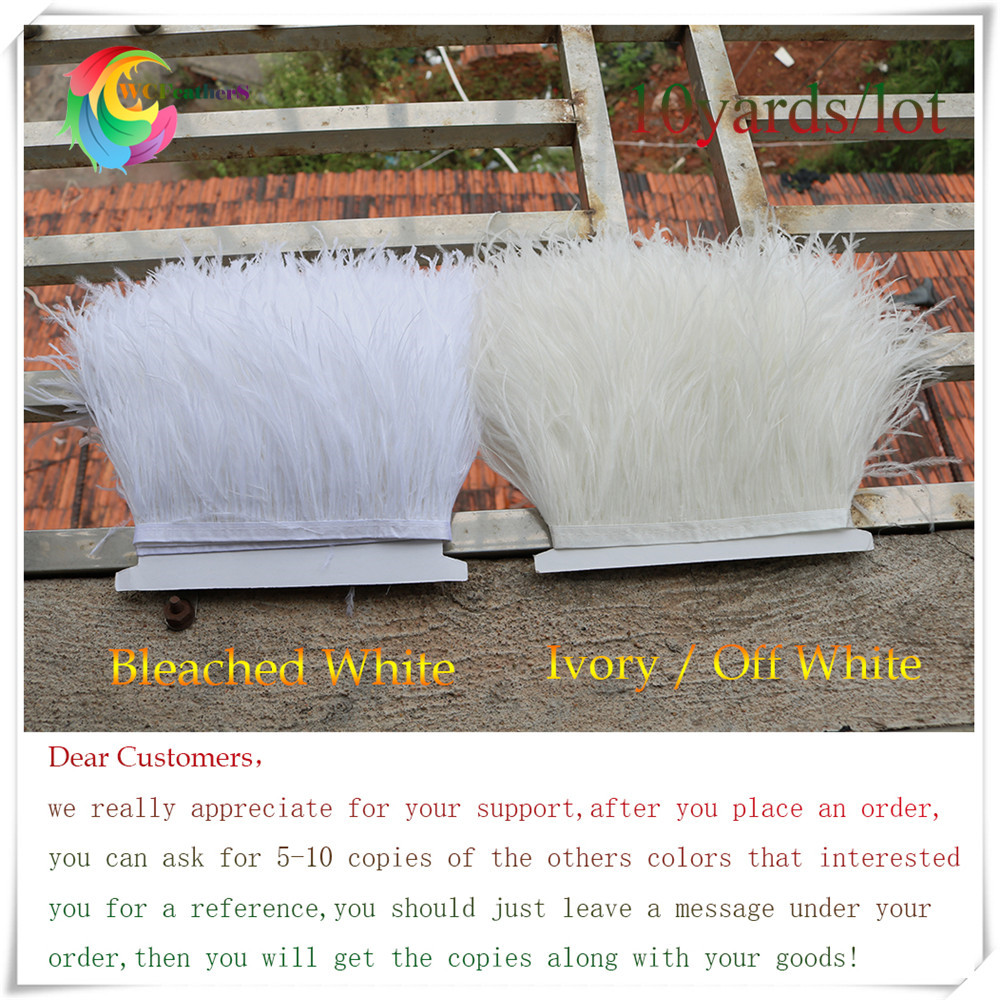 Wholesale 10 yards long off white ostrich feather trims fringe Height 6 8 Handwork Wedding Clothing