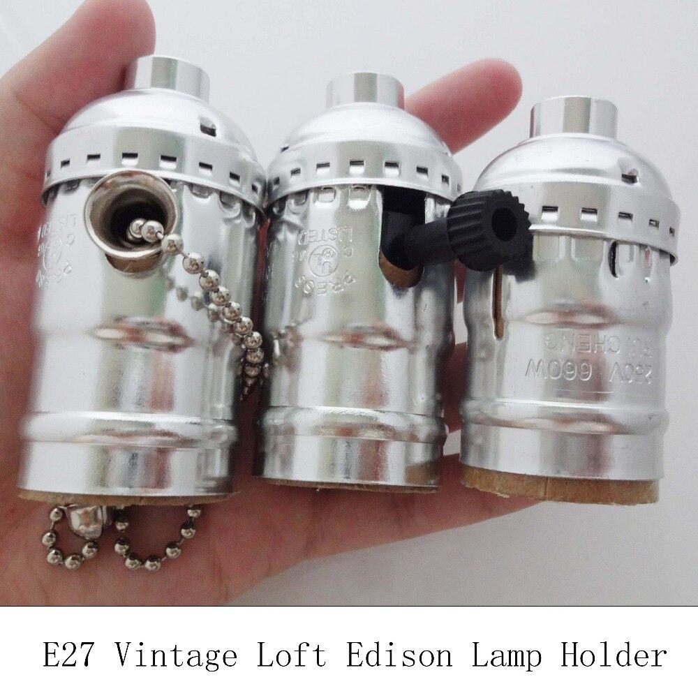 UL Винтаж E27 винт Эдисон разъем ретро круглые светодиодные лампы Серебряный кулон свет лампы держатель с Тяговый цепной переключатель 3 шт./лот