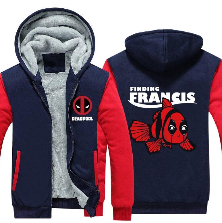 Hot USA Size Men Hoodies Deadpool 2 Cosplay Costume Winter Warm Thicken Hoodie Coat Jacket Fleece Zipper Sweatshirts