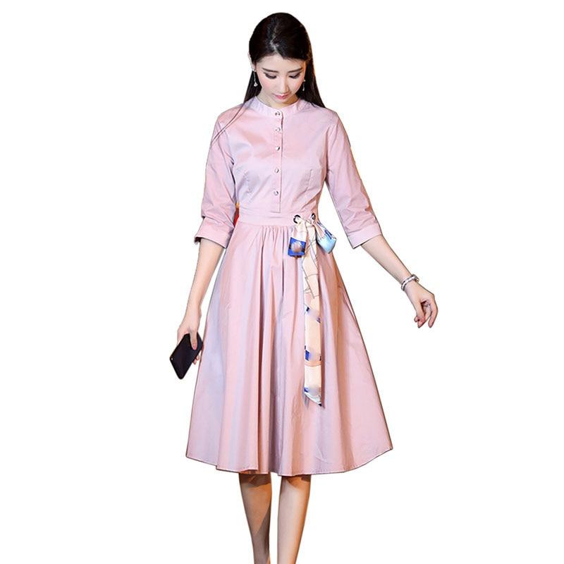 Rose Manches Travail Coton Cou Dété Qualité De Lin Robes Mode Robe