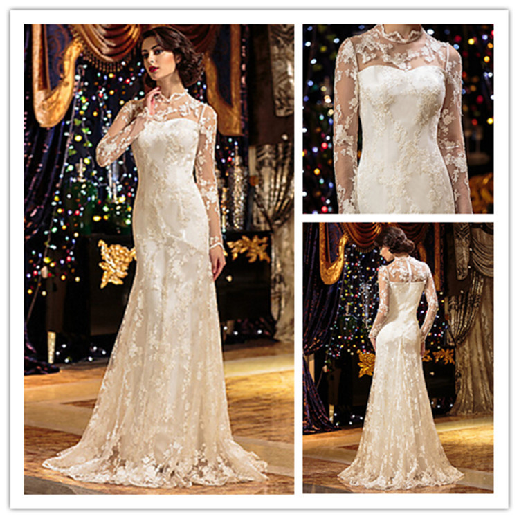 2015 Vintage Ivory Lace Wedding Dresses On Sale Long