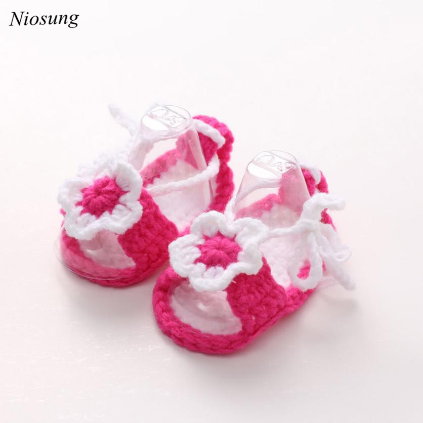 Crib Crochet Casual Baby Girls Handmade Knit Sock Flower Infant Shoes Soft Sole Sneaker Toddler Shoes