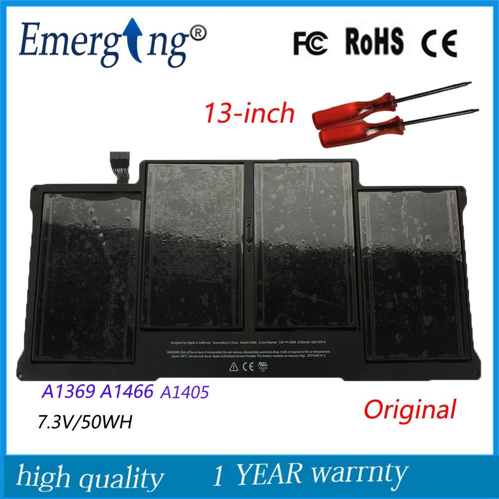 7.3 v 50Wh Nouvelle D'origine A1405 Batterie D'ordinateur Portable pour Apple MacBook Air 13 Pouces A1369 Mi 2011 A1466 Mi 2012 MC503 MC504 Avec Outils