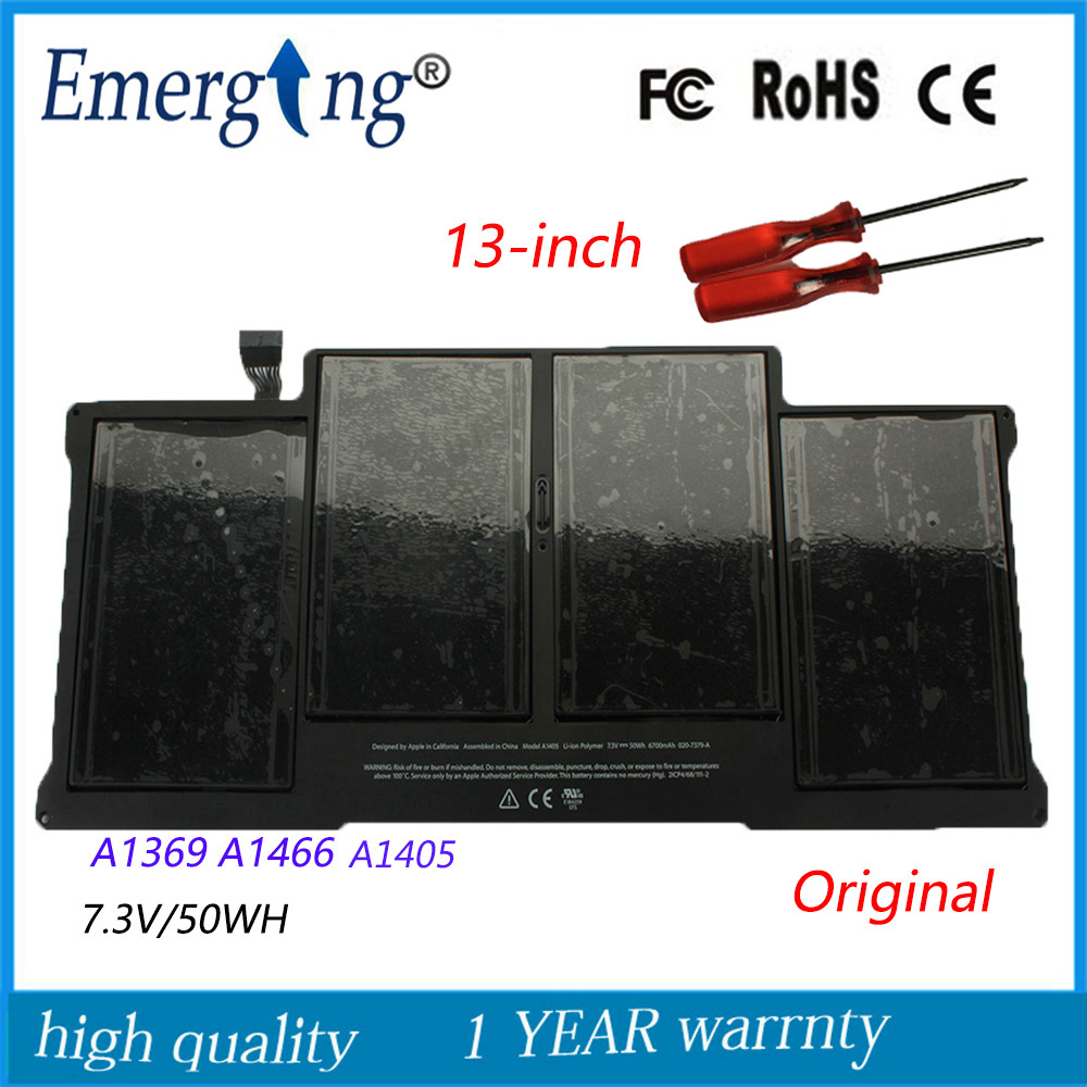 7.3v 50Wh New Original A1405 Laptop Battery for Apple MacBook Air 13Inch A1369 Mid 2011 A1466 Mid 2012 MC503 MC504 With Tools russian ru new laptop keyboard for macbook air 13a1466 a1369 keyboard md231 md232 mc503 mc504 2011 15 years