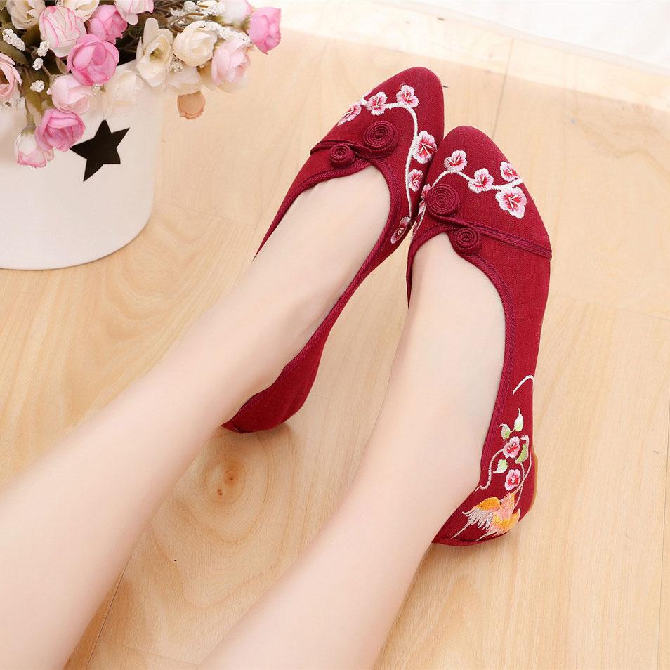 Zapatos Lona Beijing Bordado Punta Vid Nudo Ballets Chino De Las Nupcial En Beige negro Pisos Mujeres Flores Slip Veowalk rojo on Casual xAUEaIqwI