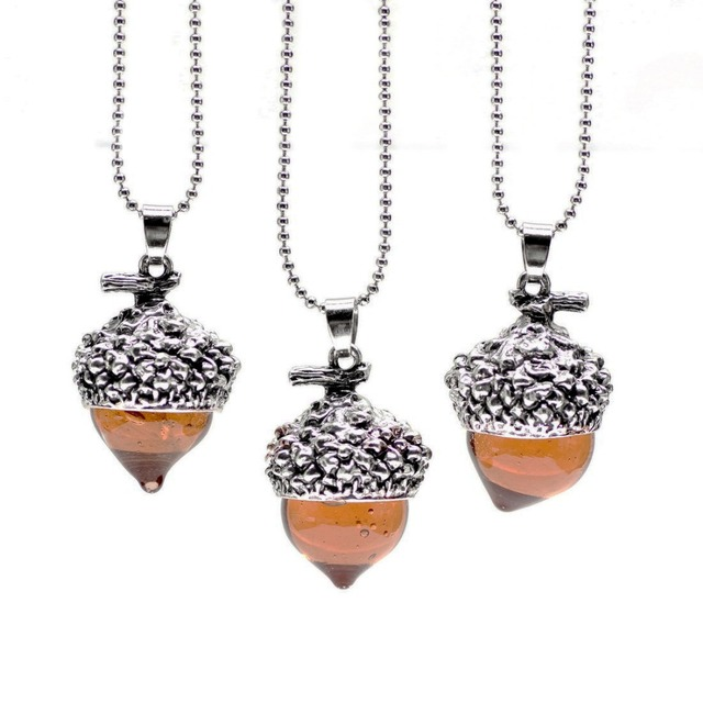 1piece Vintage Antique Bronze Silver Gold Plated Water Drop Suspension Glass Acorn Oak Pendant Necklace For Women