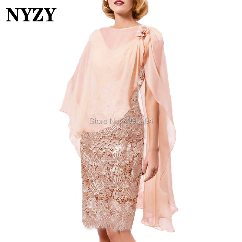 NYZY M172 Elegant Lace Chiffon 2 Piece Jacket Bolero Outfits Nude Pink Short Mother Of The Bride Dresses Custom Made