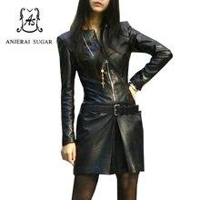 Autumn winter women dress v neck maxi sexy slim black sheepskin Genuine leather dress zipper mujer vestidos clothing with belt