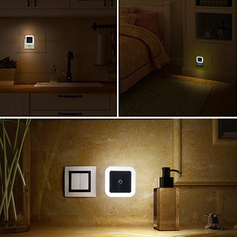 LED Night Light Mini Light Sensor Control 110V 220V EU US Plug Nightlight Lamp For Children Kids Living Room Bedroom Lighting 4