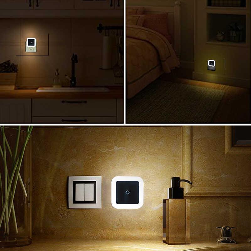 """LED לילה אור מיני אור חיישן בקרת 110V 220V האיחוד האירופי ארה""""ב תקע מנורת לילה מנורה לילדים ילדים סלון חדר שינה תאורה"""