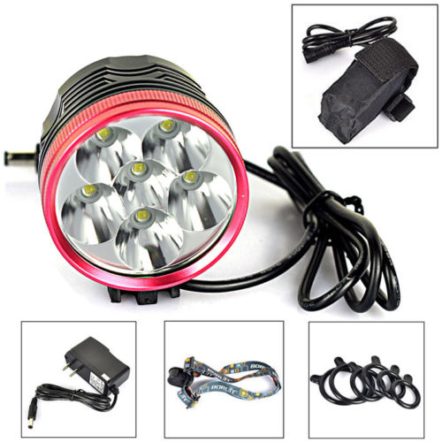 6400mAh 9000Lm 6X XML T6 LED Cycling Head Front Bicycle Bike light Lamp Headlamp 10000lm 6x xml t6 led front head bicycle bike front cycling light lamp head headlight black