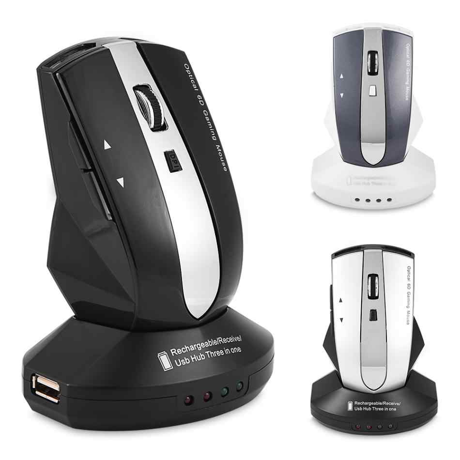 2.4GHz Rechargeable Wireless Optical Mouse Gaming Mice w/ Charging Dock Stand 3-Port USB Hub