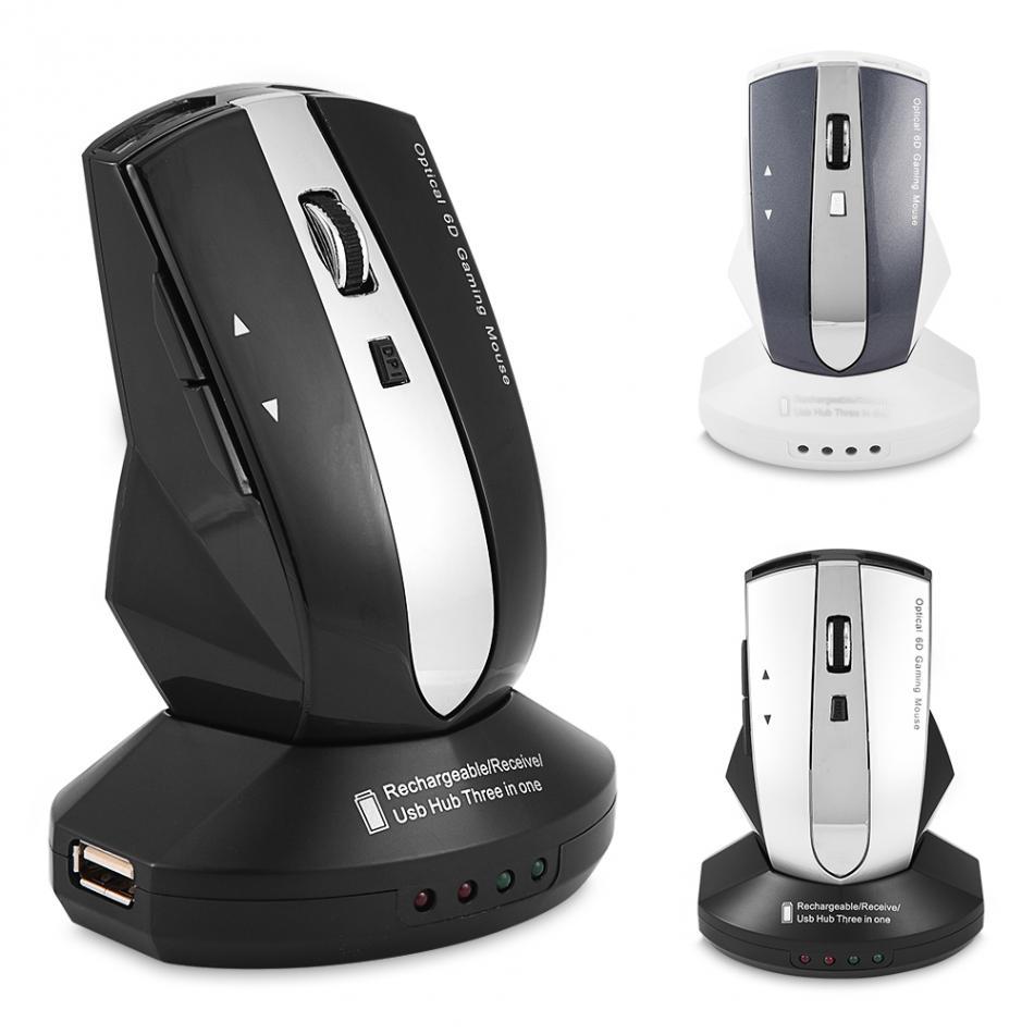2.4 GHz Sans Fil Rechargeable Souris Optique Gaming Souris w/Charging Dock Stand 3-Port USB Hub