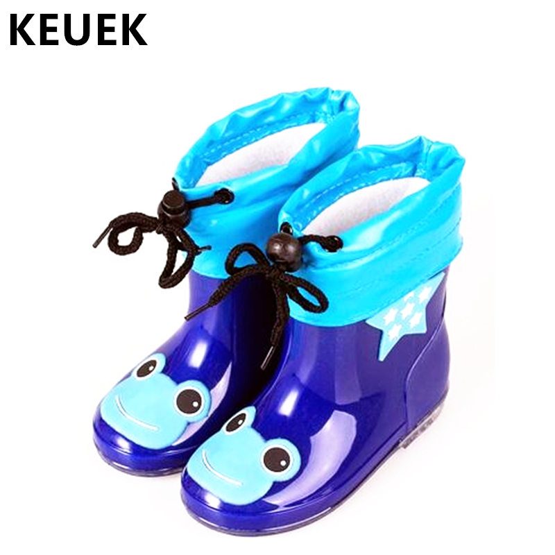 Fashion Children Shoes Waterproof Rainboots PVC Rubber Boys Girls Baby Cartoon Shoes Antiskid Kids Water Shoes 020