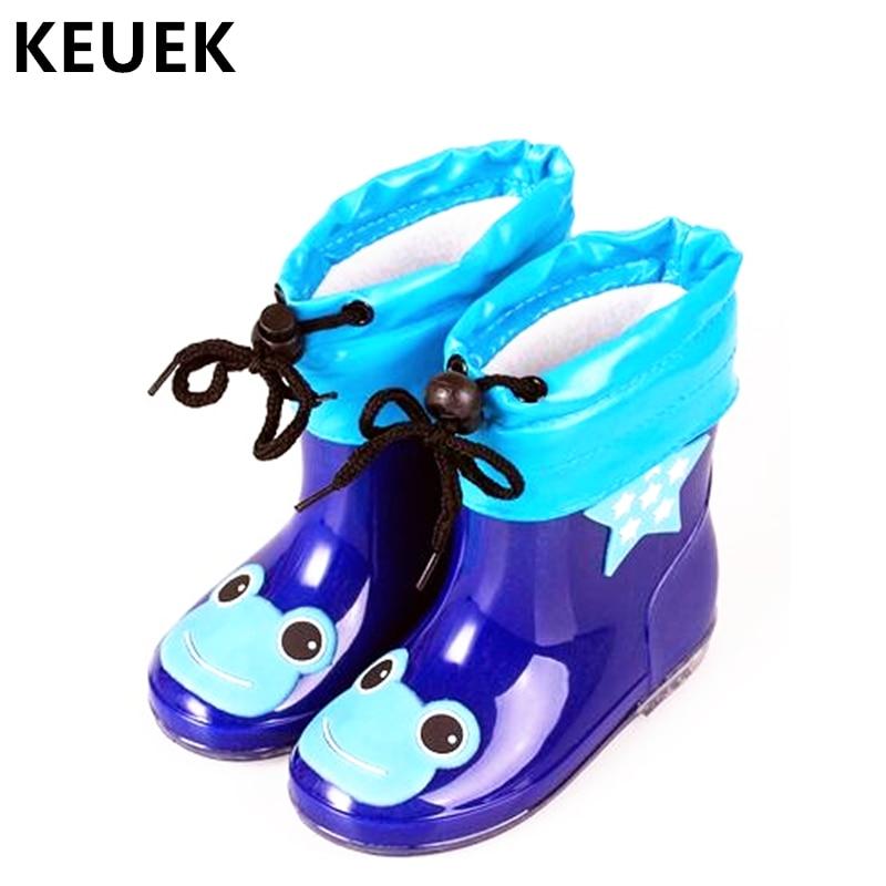 Fashion Children Shoes Waterproof Rainboots PVC Rubber Boys Girls Baby Cartoon Shoes Antiskid Kids Water Shoes 020