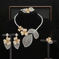 4pcs Dubai Gold Jewelry Sets Nigerian Wedding Flower Bridal Jewellery Set Ethiopian Jewelry parure Flower Necklace Earrings