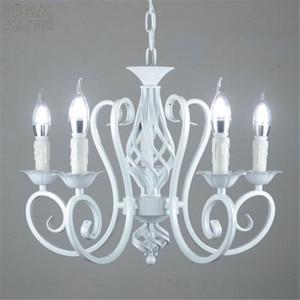 Image 3 - Bianco Nordic Lampadario Wrough Ferro lustre lampada Per Soggiorno 220V 110V sala da pranzo camera da letto Foyer Lampadario di Illuminazione