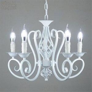 Image 3 - White Nordic Chandelier Wrough Iron lustre lamp For Living Room 220V 110V dining room bedroom Foyer Chandelier Lighting