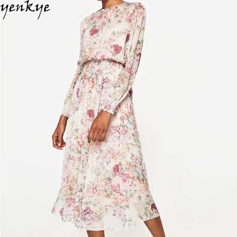 Musim luruh gaun chiffon wanita manis o leher lengan panjang pakaian - Pakaian wanita - Foto 6