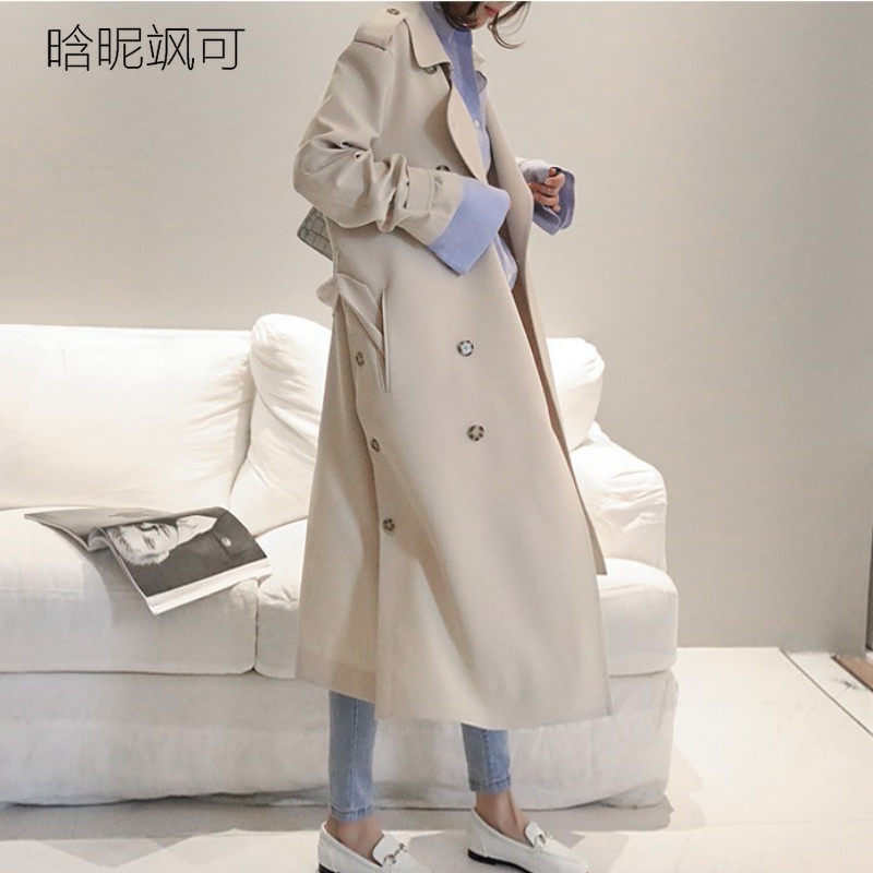 2019 Autumn New Women's Casual   Trench   Coat Oversize Double Breasted Vintage Washed Outwear Loose Clothing Waterproof Raincoat