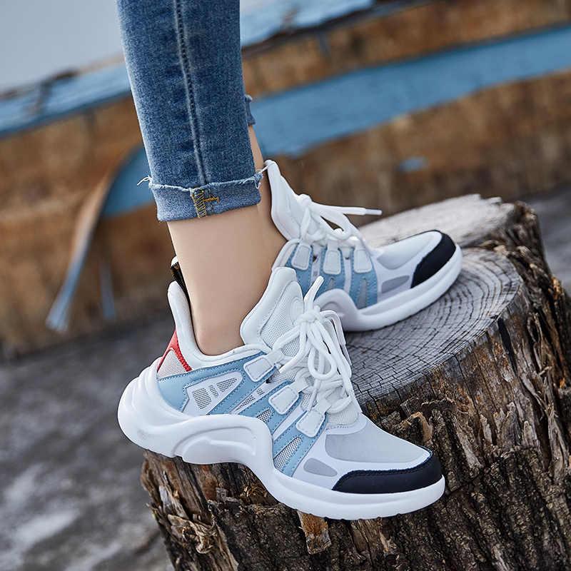 Moipheng 2019 Frauen Chunky Turnschuhe Atmungsaktivem Mesh Casual Weibliche Mode Sneaker Lace Up Neue Freizeit Vulkanisieren Schuh Plattform