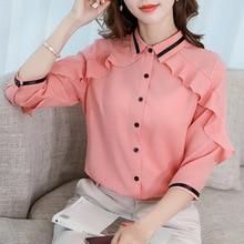 New 2019 Women Spring Summer Blouse Ruffle Button Slim White Shirt Fashion Chiffon Shirts Bodycon Blouses Blusas Tops Plus Size