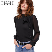 HYH HAOYIHUI Fashion Women Shirt Brief Contrast Black Single Breasted Summer Sheer Lace Up Bow Regular Long Sleeve Solid