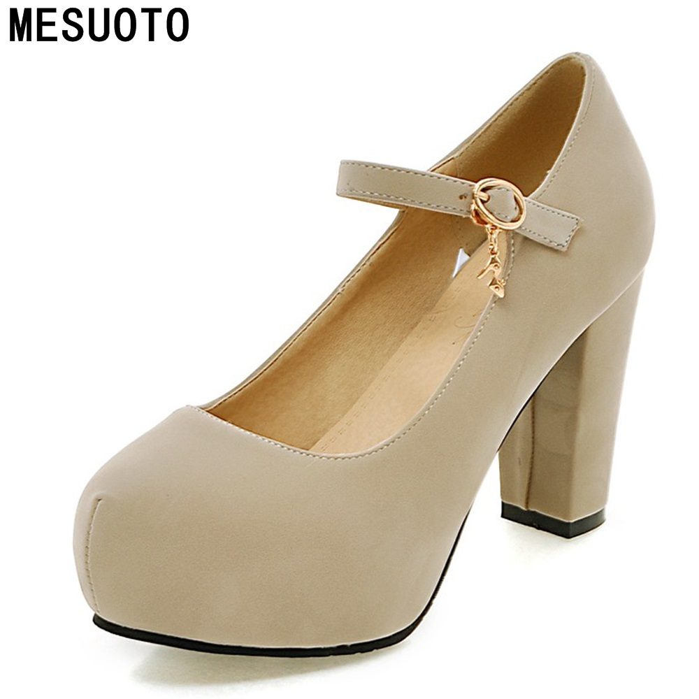 MESUOTO Fashion Style Suede Nubuck Square High Heels Womens Dress Shoes Blue Strap Buckle Spring Air
